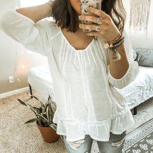 BANANA REPUBLIC • white boho tunic ruffle top